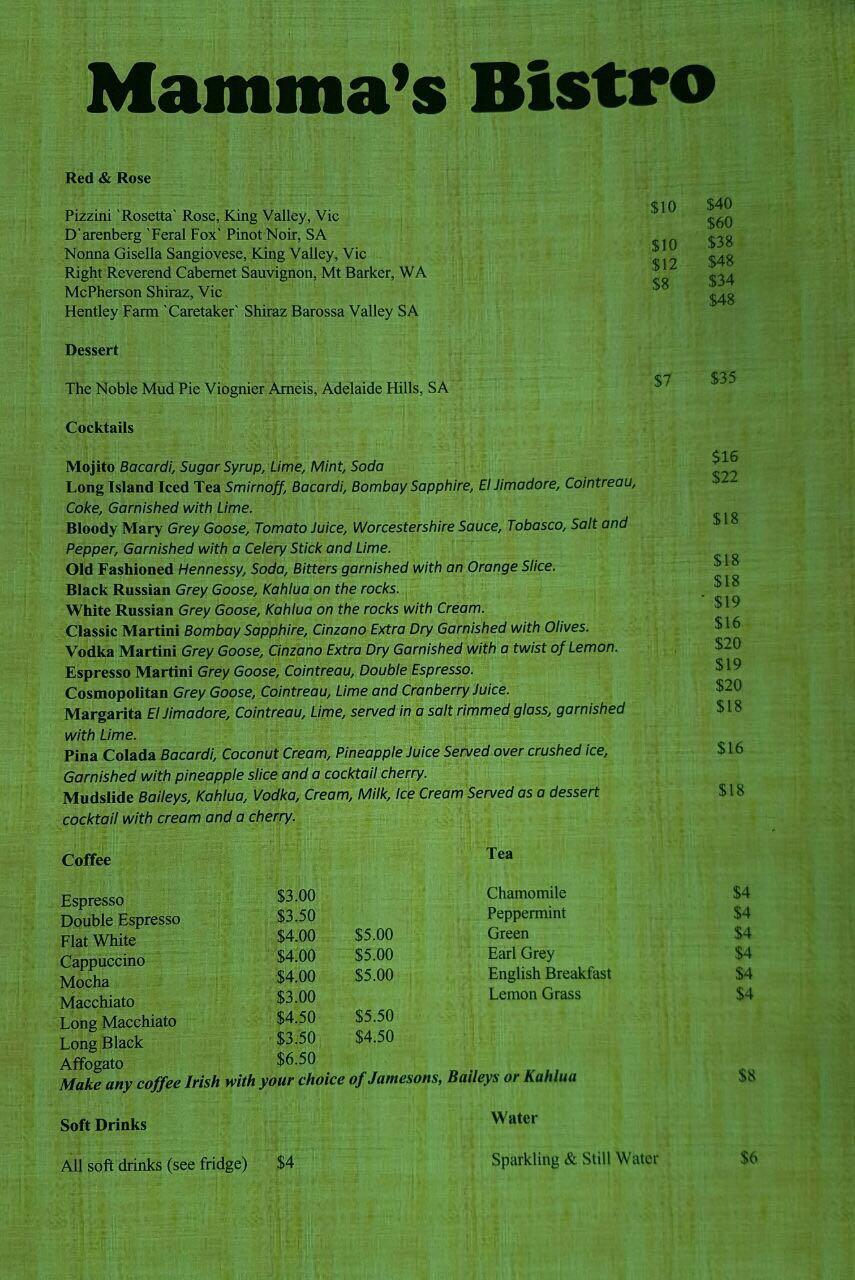 menu beverages